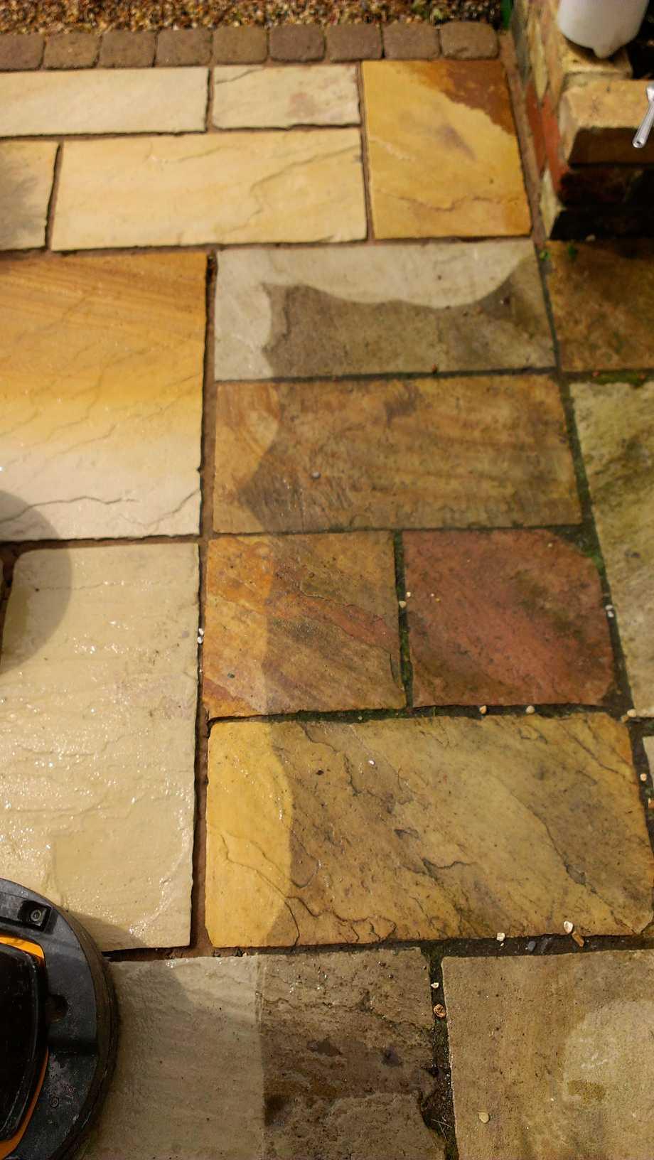 Sandstone Patio During Cleaning Cambridge 1