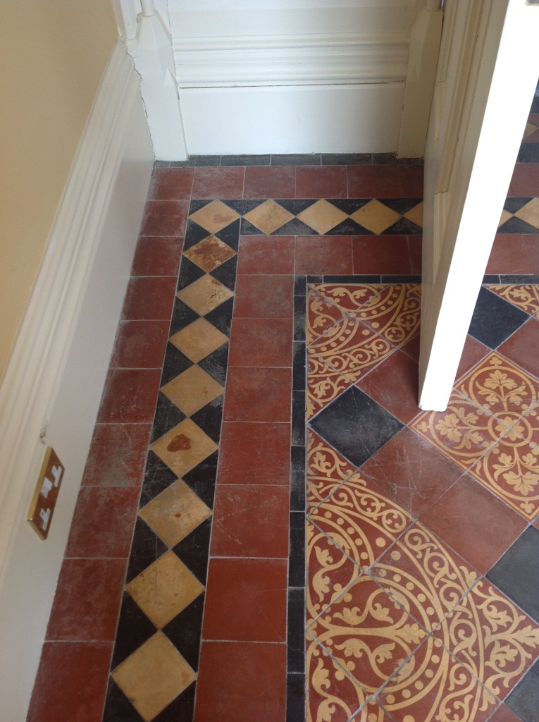 Victorian Tiled Floor Harston Before Cleaning 2