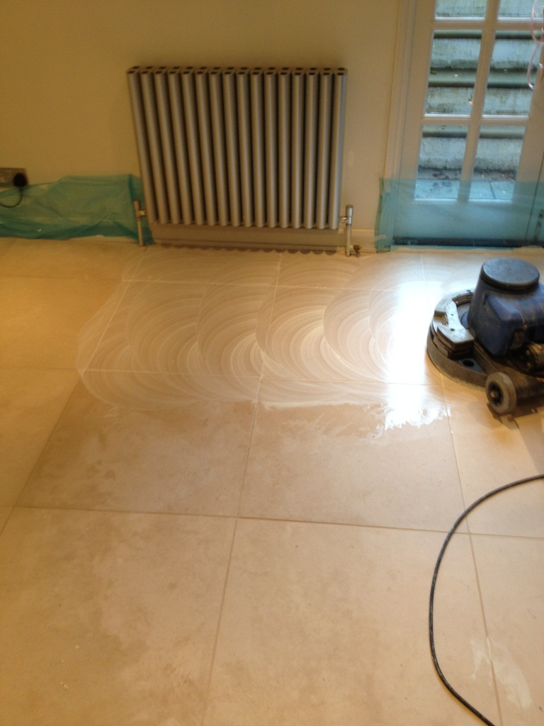 Limestone Tiled Floor Cleaing