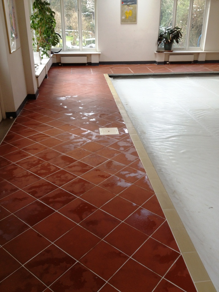 Quarry Tile Swimming Pool Surround Before