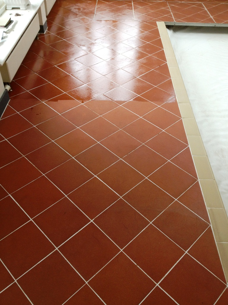 Quarry Tile Swimming Pool Surround Partly Sealed