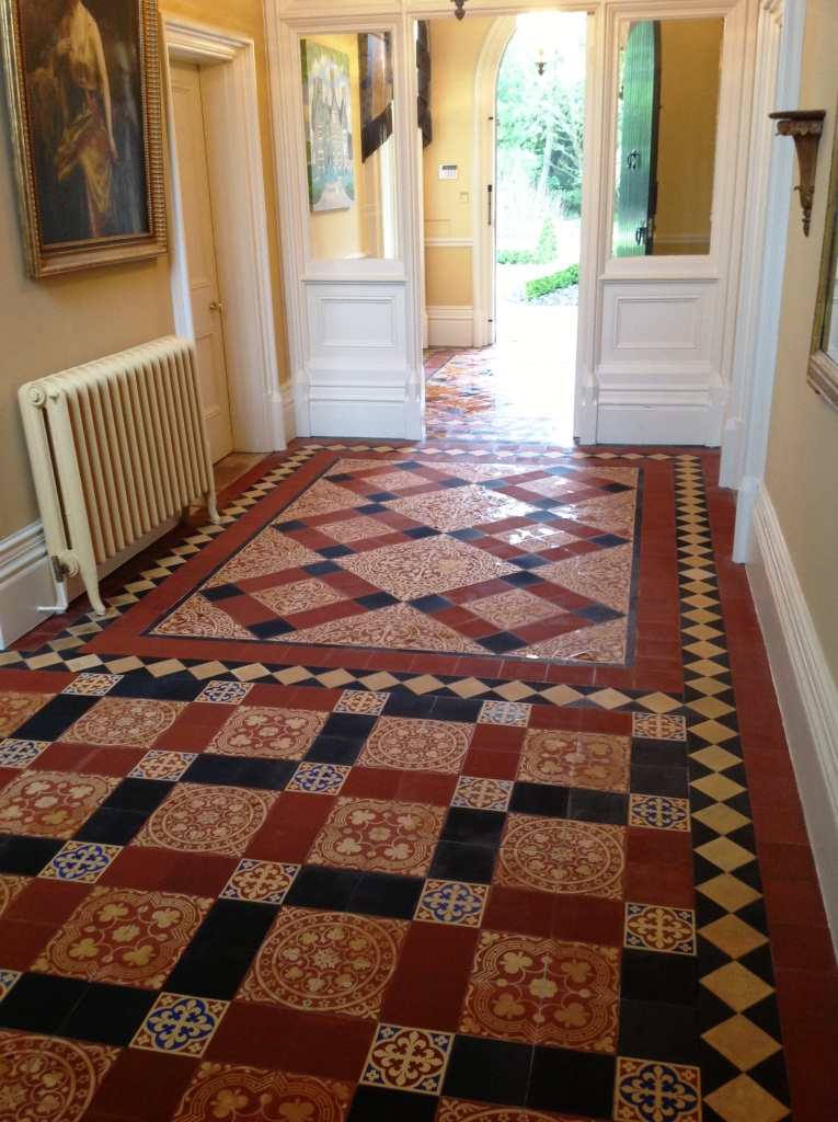 Victorian Tiled Floor Harston After Cleaning and Sealing 7