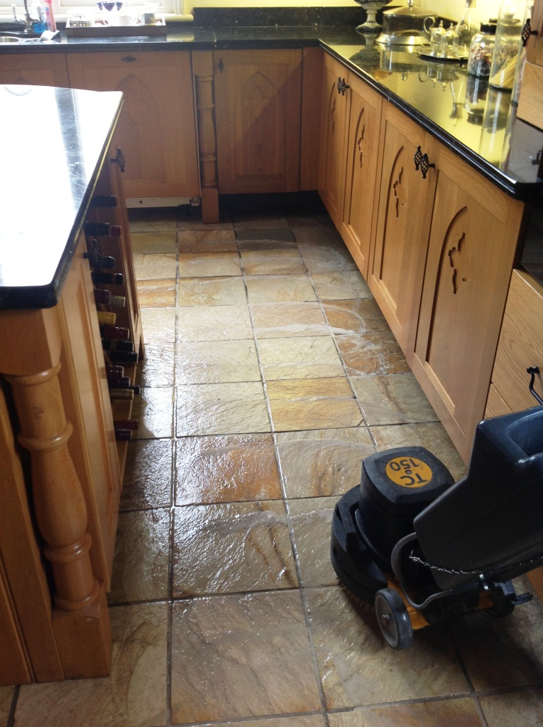 Harston Slate Tiled Floor Cleaning 1
