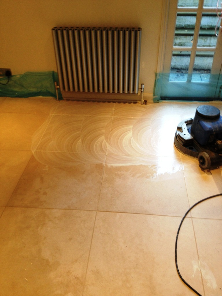 Polishing Limestone Tiles in Cambridge During Cleaning