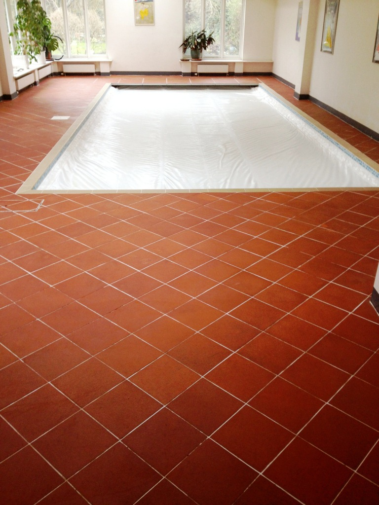Quarry Tiled Pool Surround Cambridge After Cleaning