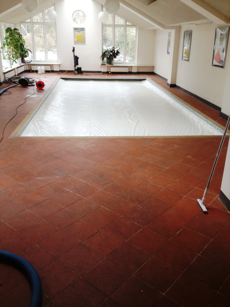 Quarry Tiled Pool Surround Cambridge Before Cleaning