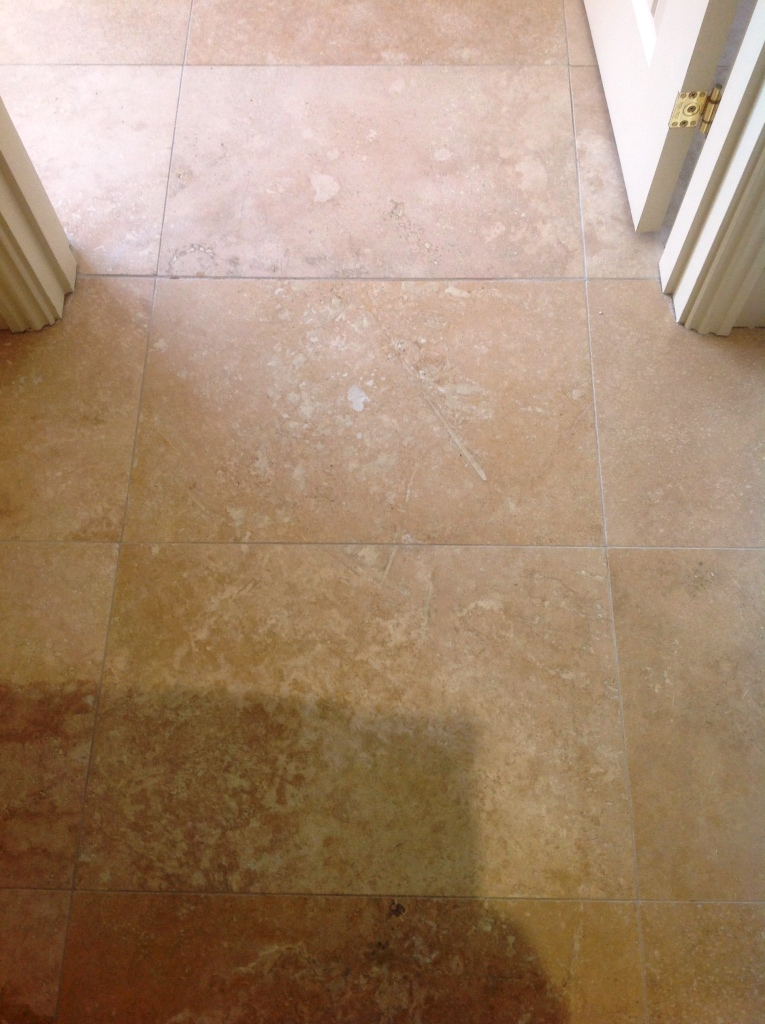 Travertine floor after filling in Great Wilbraham Cambridge