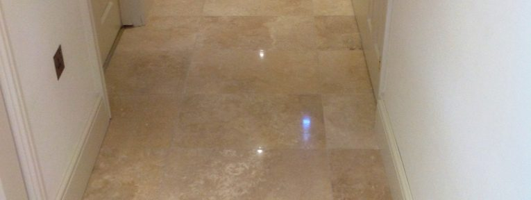Travertine Tiled Floor Stripped and Polished in Great Wilbraham