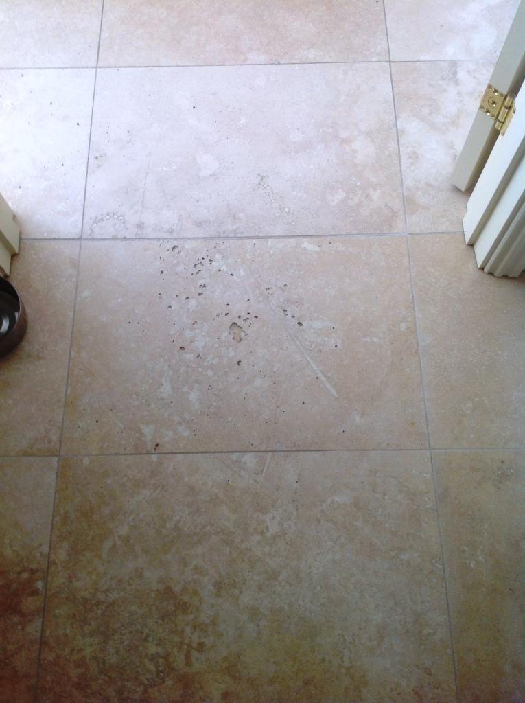 Travertine floor before filling in Great Wilbraham Cambridge