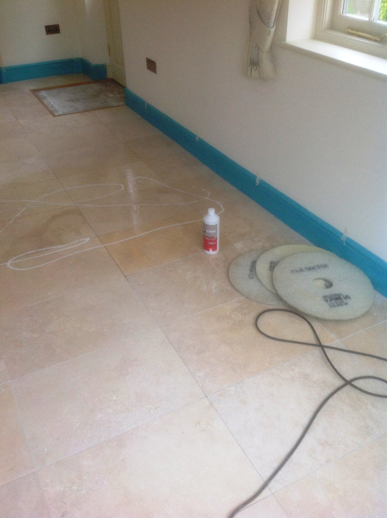 Travertine floor before polishing in Great Wilbraham Cambridge