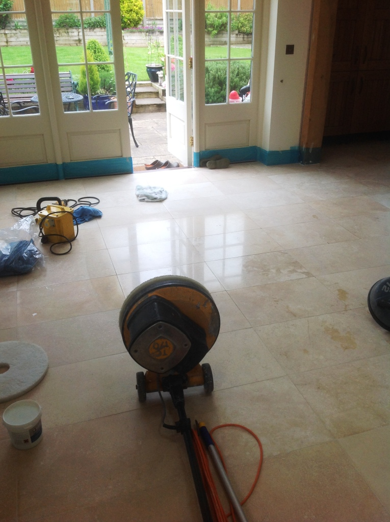 Travertine floor during polishing in Great Wilbraham Cambridge