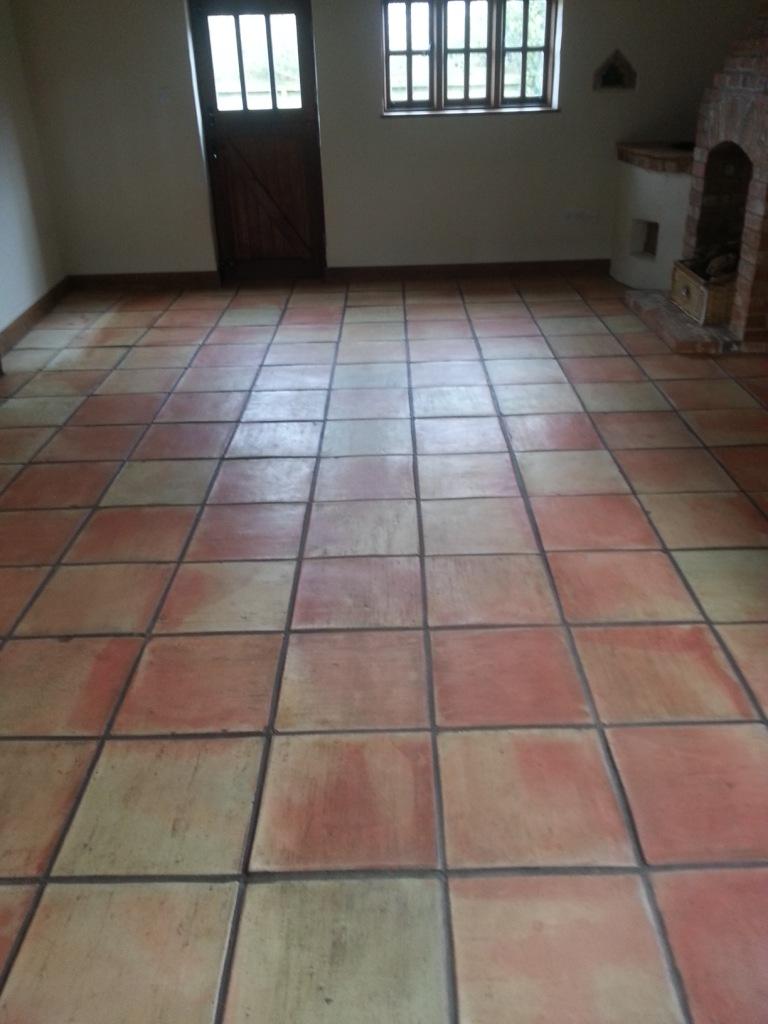 Terracotta Tiled Floor Before Clean and Seal in Great Gransden