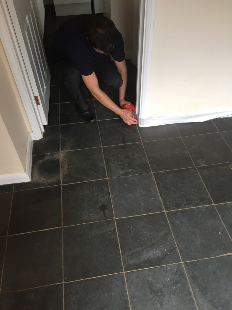 Slate Floor Duxford Before Cleaning Adding Protection