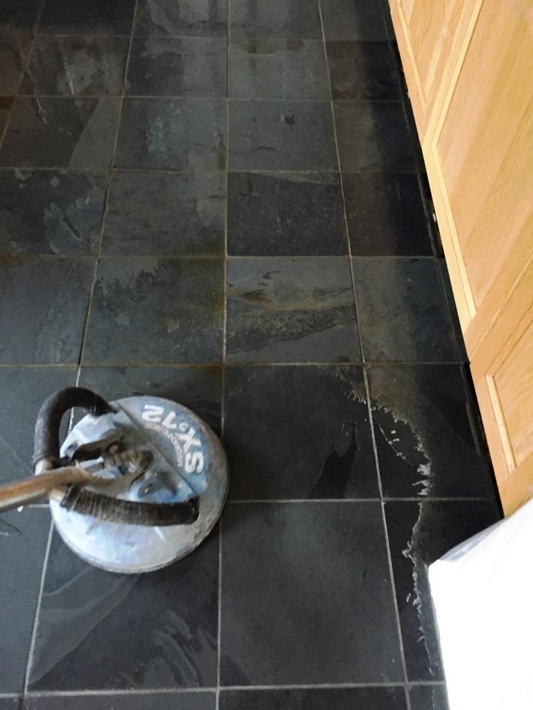Slate Floor Duxford During Pressure Cleaning