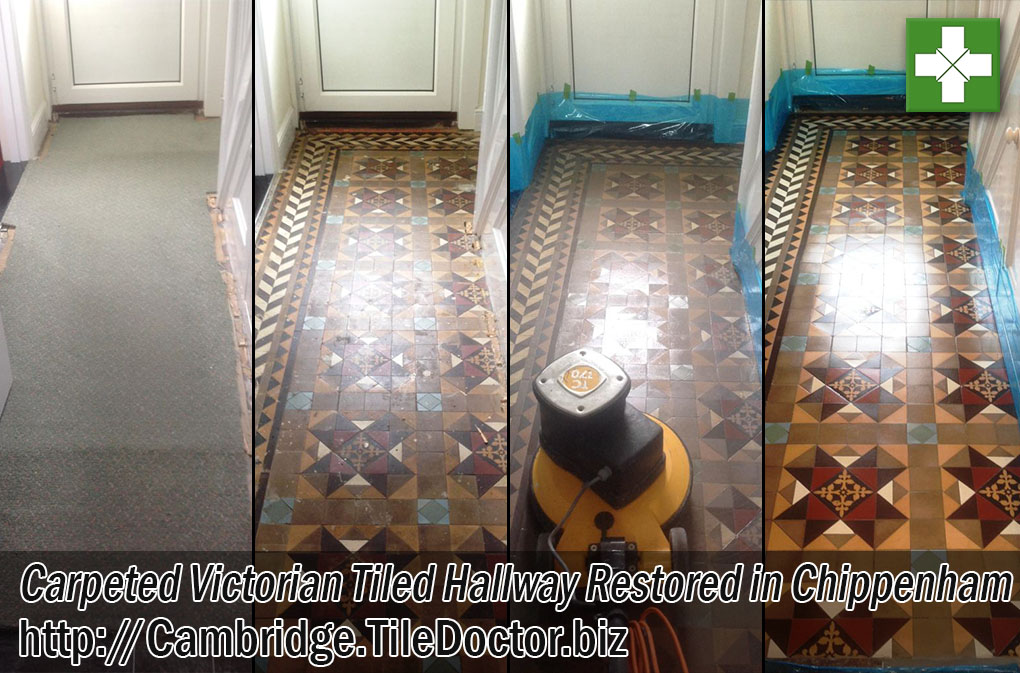 Victorian Tiled Hallway Floor Before and After Cleaning in Chippenham