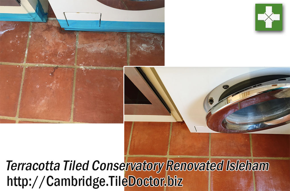 Terracotta Conservatory Floor before and after Renovation in Isleham