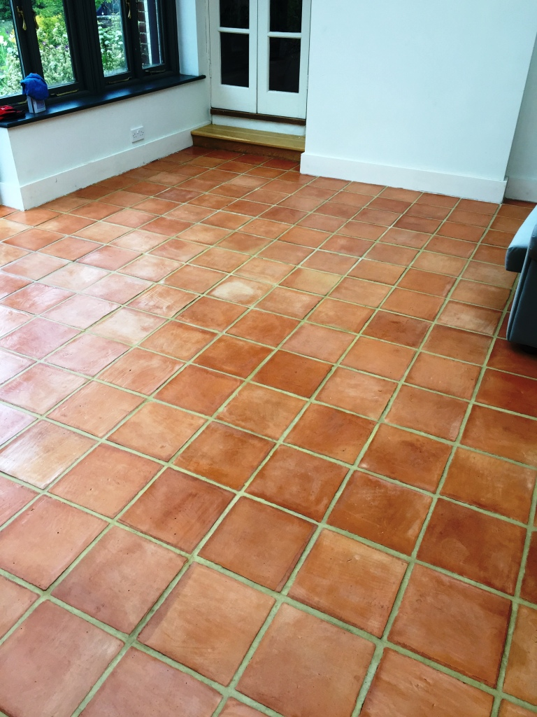 Terracotta Tiles After Cleaning Isleham Conservatory