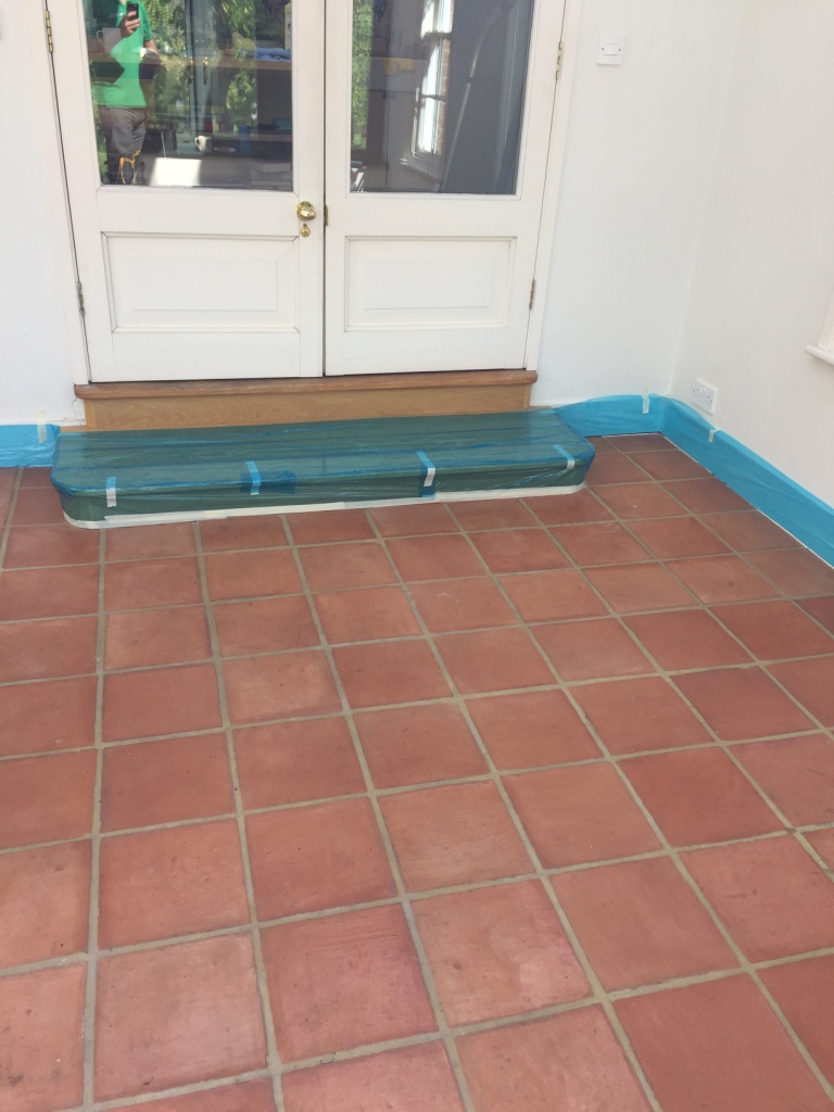 Terracotta Tiles Before Cleaning Isleham Conservatory