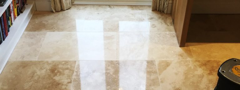 Lustre Restored to Large Area of Travertine Tiles in Cambridge