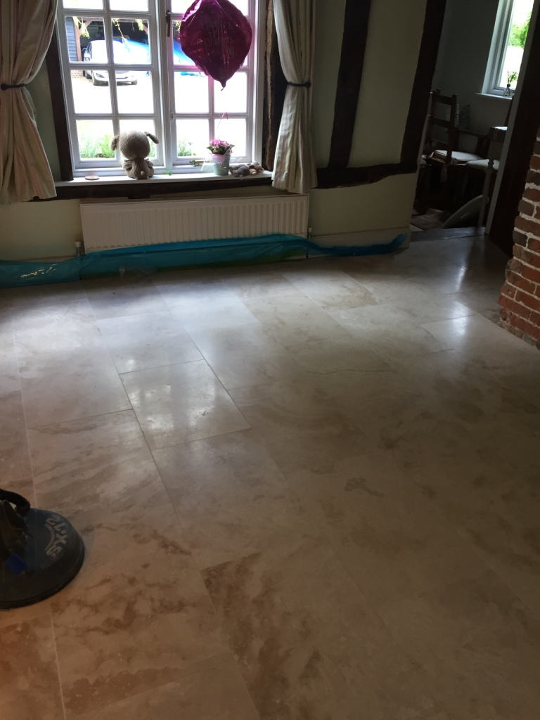 Travertine Floor Before Cleaning Cambridge
