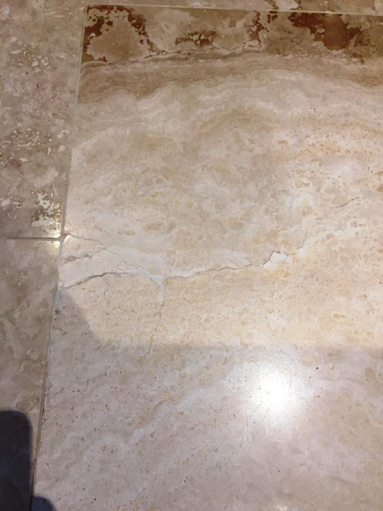 Travertine Floor Tile After Crack Repair Cambridge
