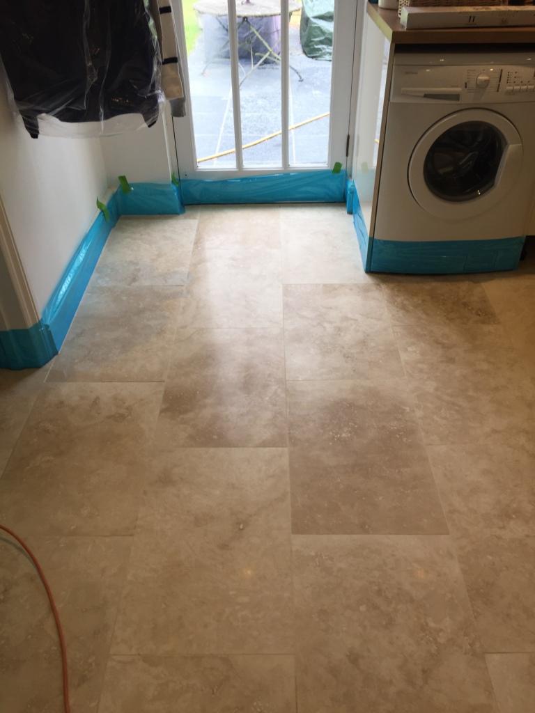 Travertine Kitchen Floor Before Cleaning Cambridge