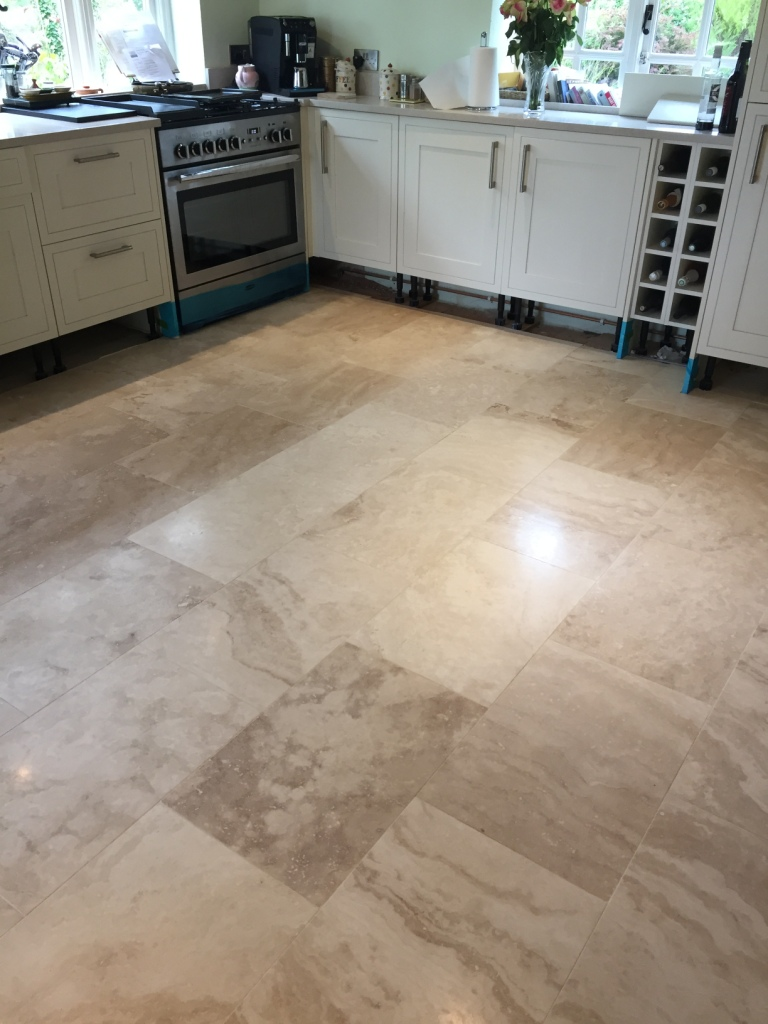 Travertine Kitchen Floor Before Cleaning Cambridge