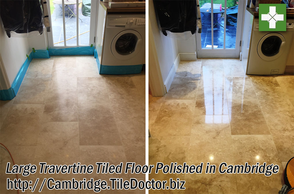 Travertine Tiled Floor Before and After Polishing in Cambridge
