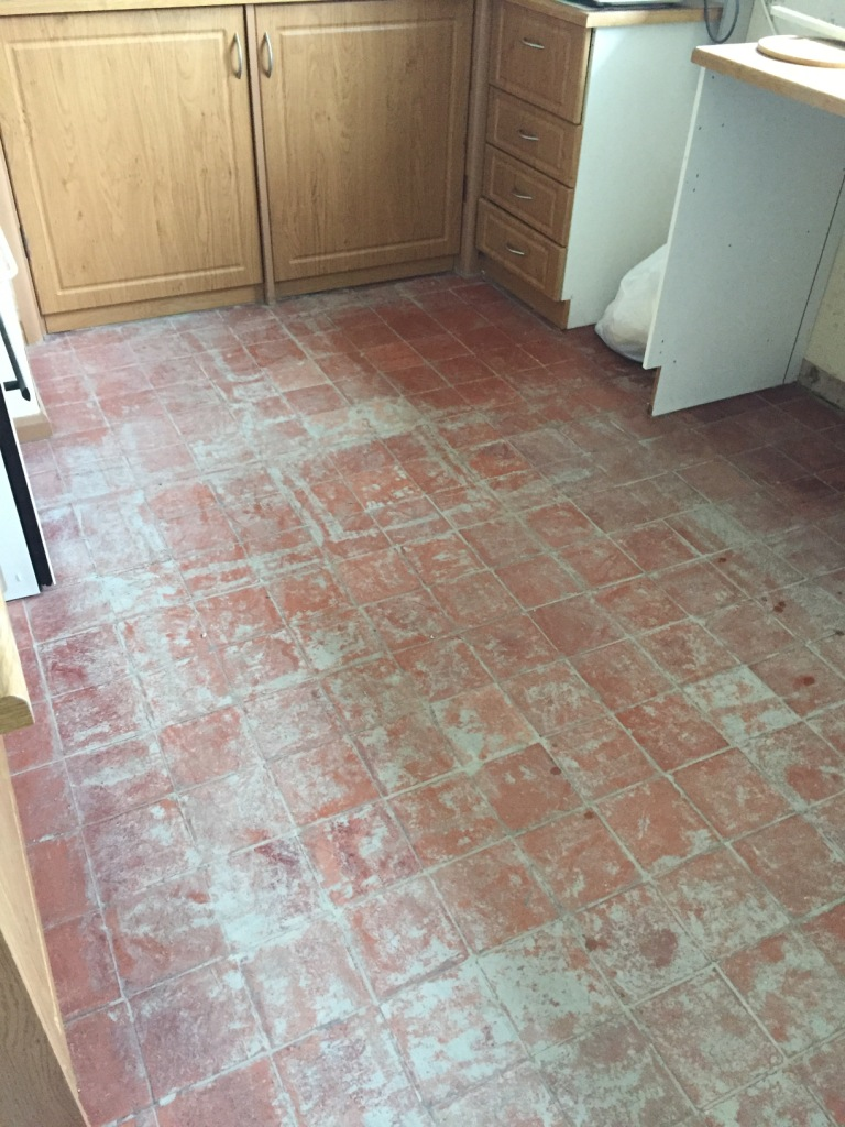 Kitchen Quarry Tiled Floor Before Restoration Cambridge