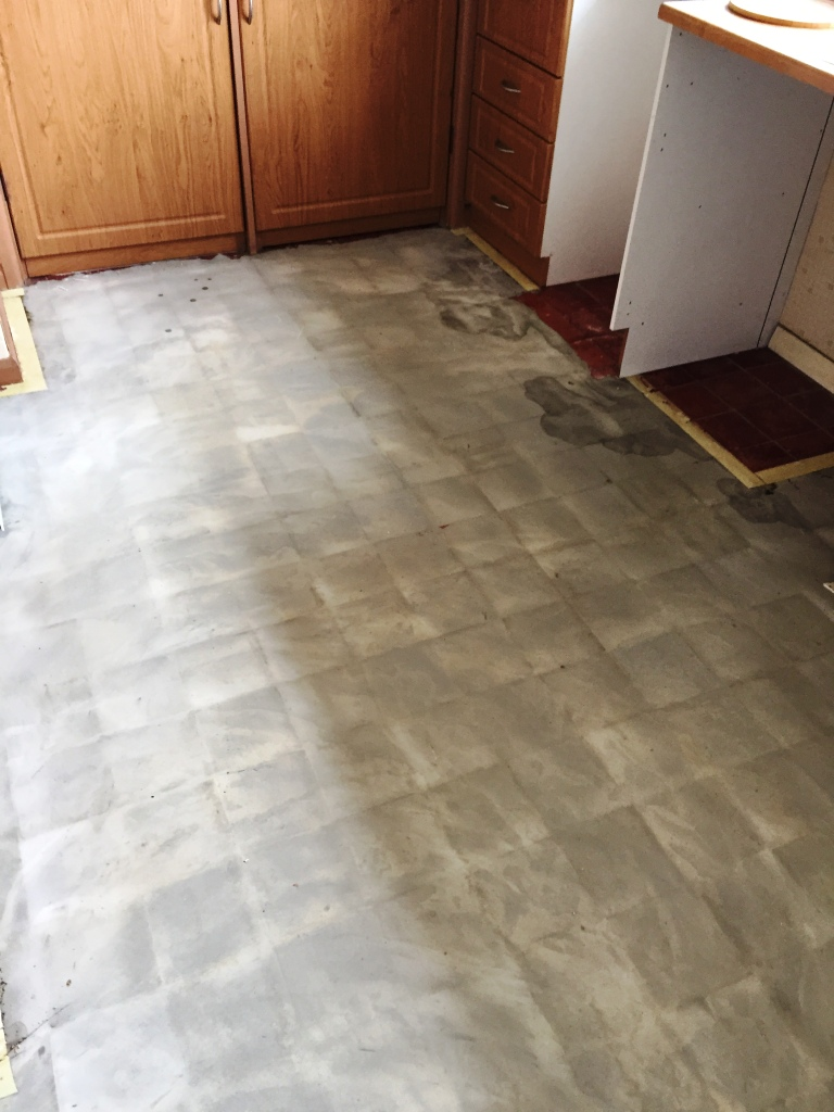 Kitchen Quarry Tiled Floor with Lino Removed Cambridge