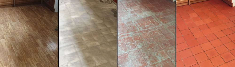 Full restoration of a Lino Covered Quarry Tiled Kitchen floor in Cambridge