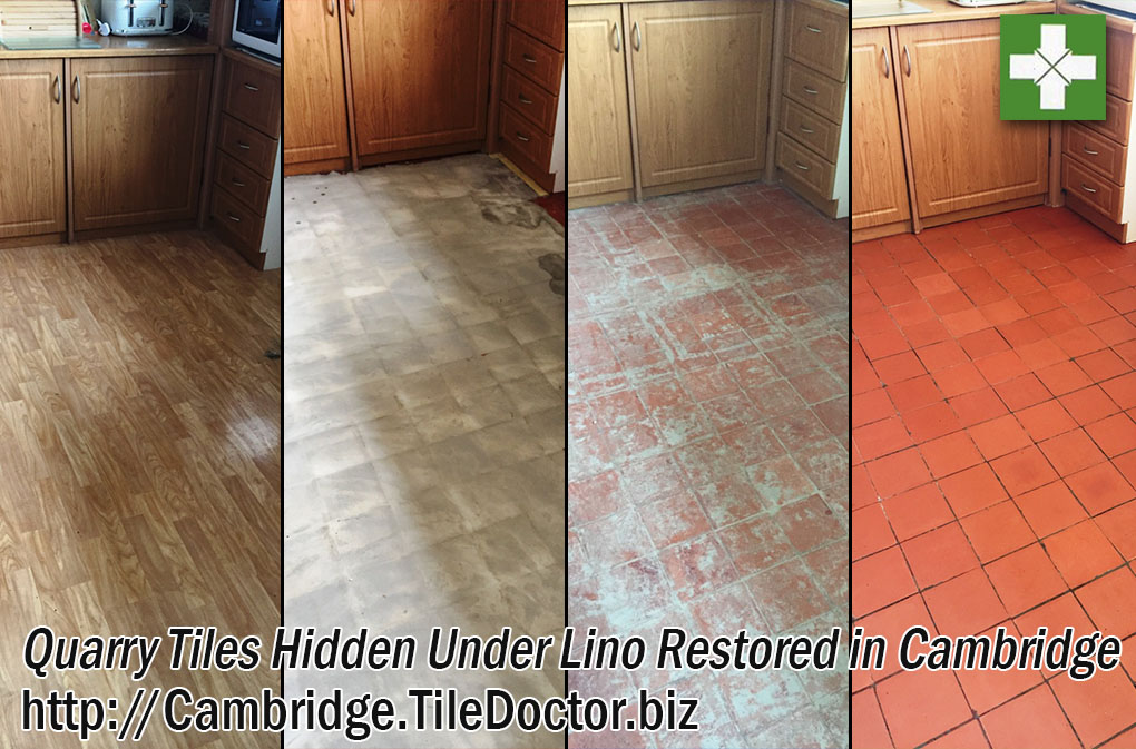 Quarry Tiled Kitchen Before and After Restoration in Cambridge