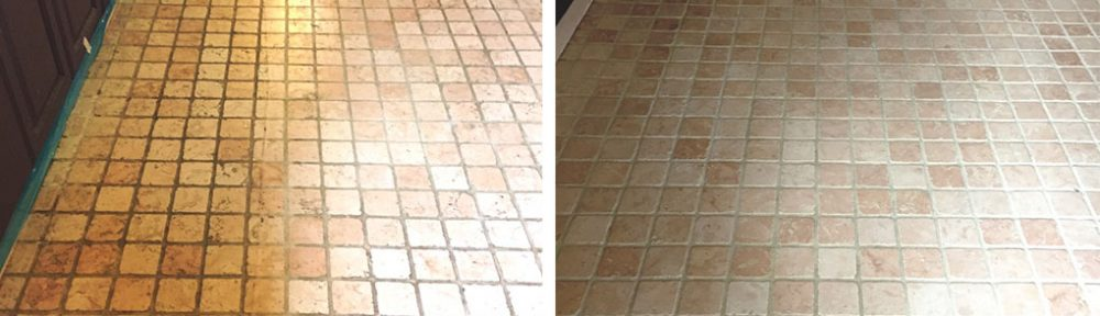 Marble Tiled Kitchen Before and After Cleaning in St Neots