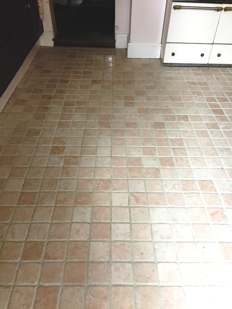 Marble Tiled Kitchen Floor After Cleaning St Neots