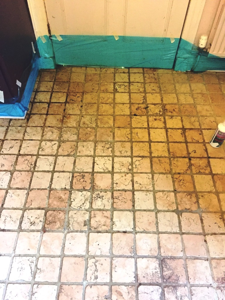 Marble Tiled Kitchen Floor Before Cleaning St Neots