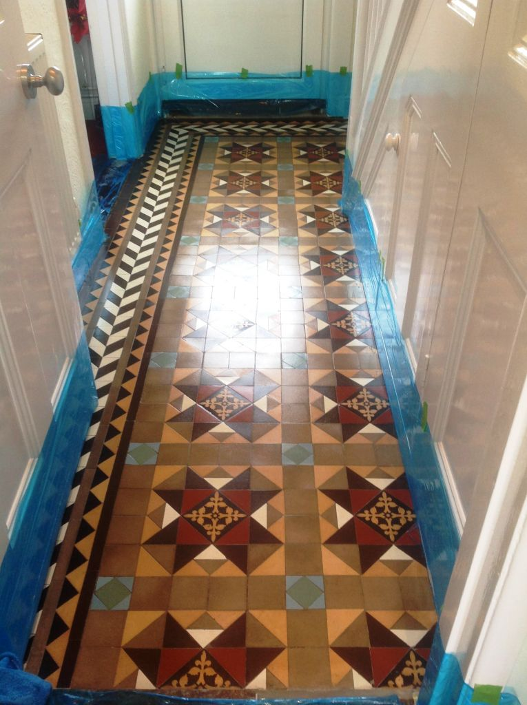 Edwardian Tiled Hallway After Sealing in Chippenham