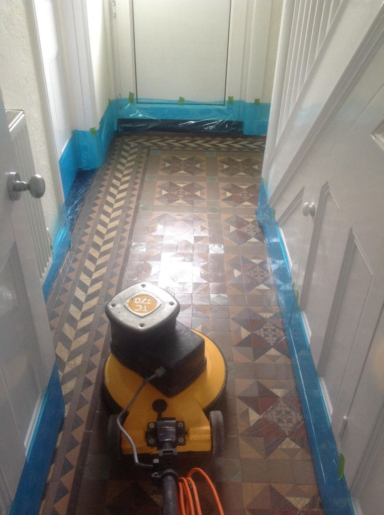 Edwardian Tiled Hallway During Restoration in Chippenham