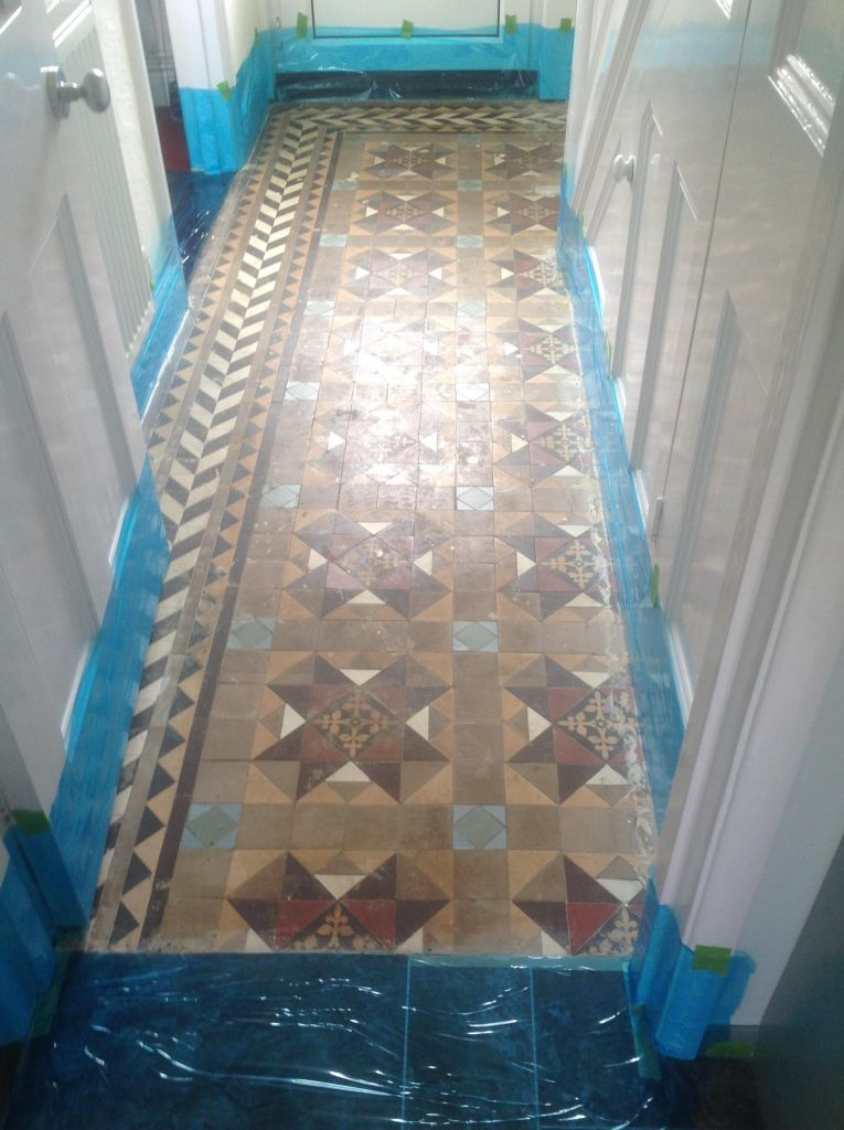 Edwardian Tiled Hallway Prepared for Restoration in Chippenham