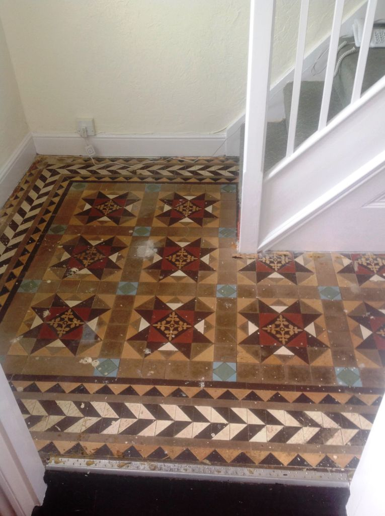Edwardian Tiled Hallway UnCovered Before Restoration in Chippenham