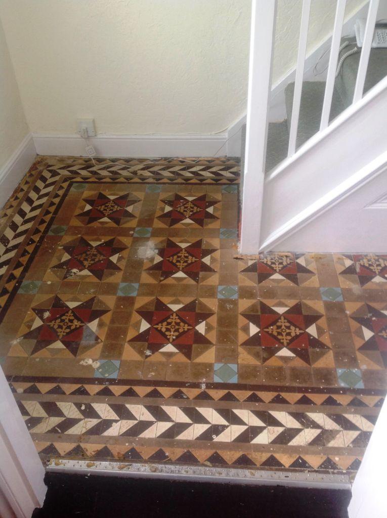 Edwardian Tiled Hallway UnCovered Before Restoration in Chippenham