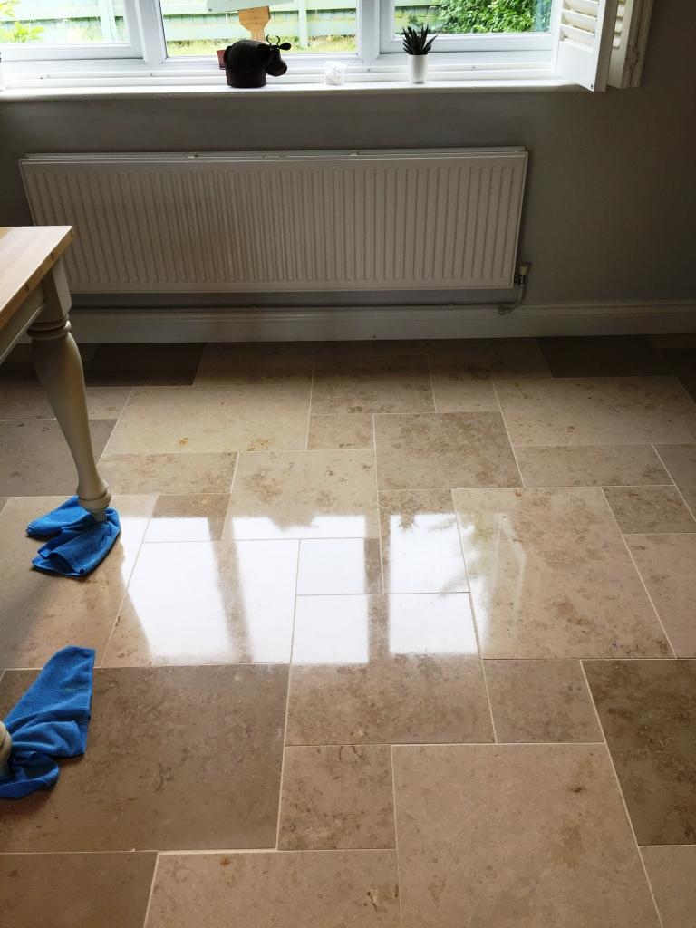 Limestone Tiled Dining Room After Polishing Boxworth