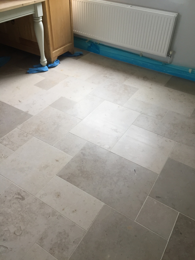 Limestone Tiled Dining Room Before Polishing Boxworth