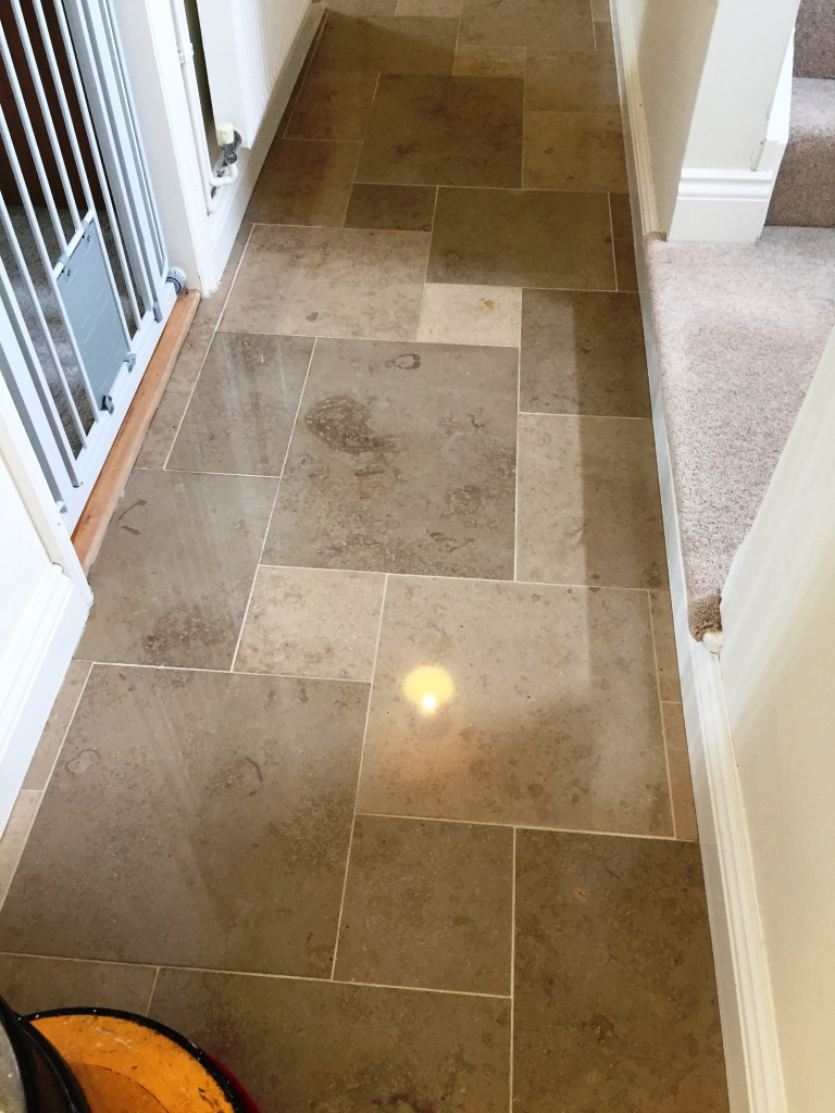 Limestone Tiled Hallway After Polishing Boxworth