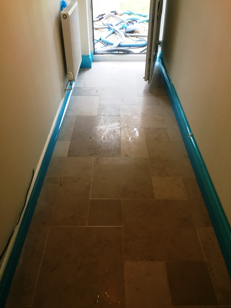 Limestone Tiled Hallway Before Polishing Boxworth