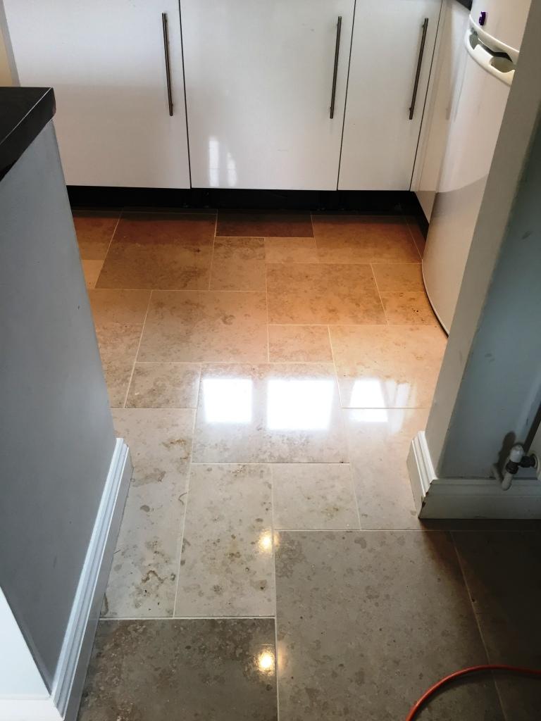 Limestone Tiled Kitchen After Polishing Boxworth