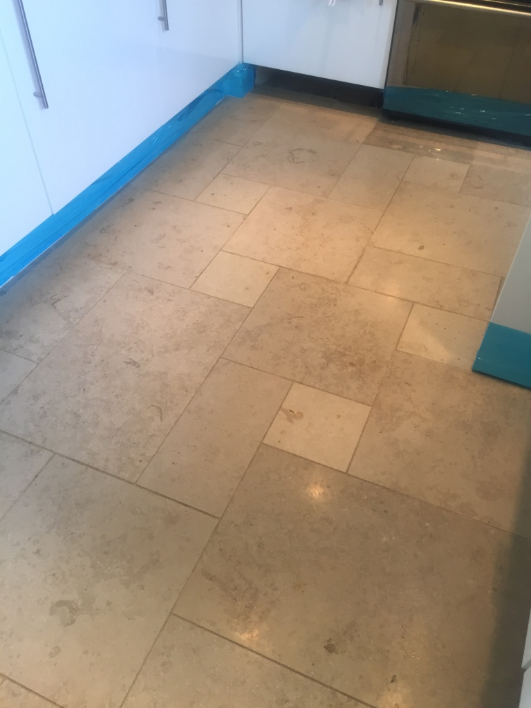 Limestone Tiled Kitchen Before Polishing Boxworth