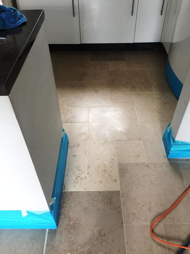 Limestone Tiled Kitchen Before Polishing Boxworth