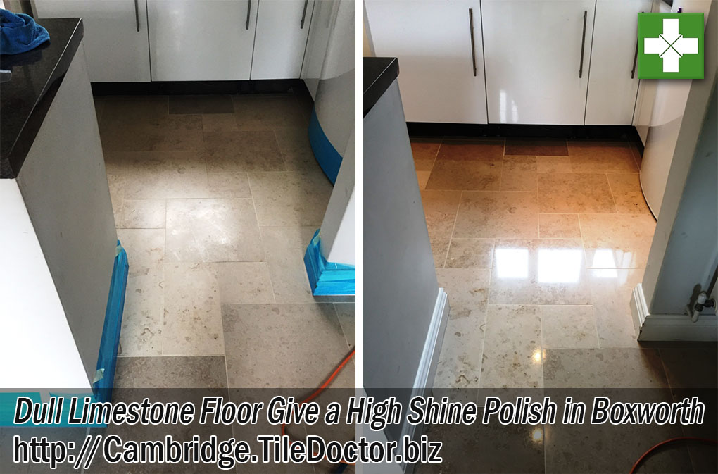 Limestone Tiled Kitchen Floor Before and After Polishing in Boxworth