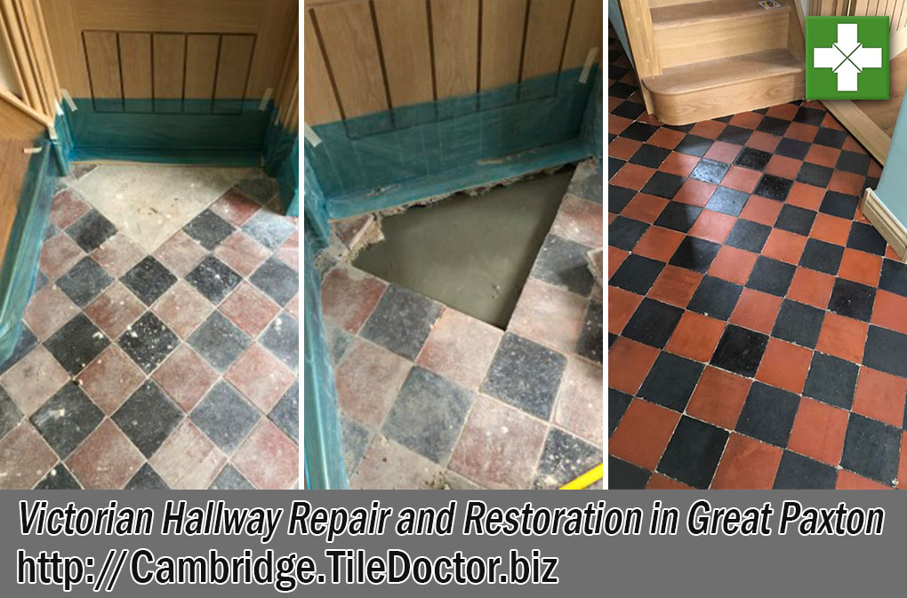 Victorian Tiled Hallway Before After Restoration Great Paxton Cambridgeshire
