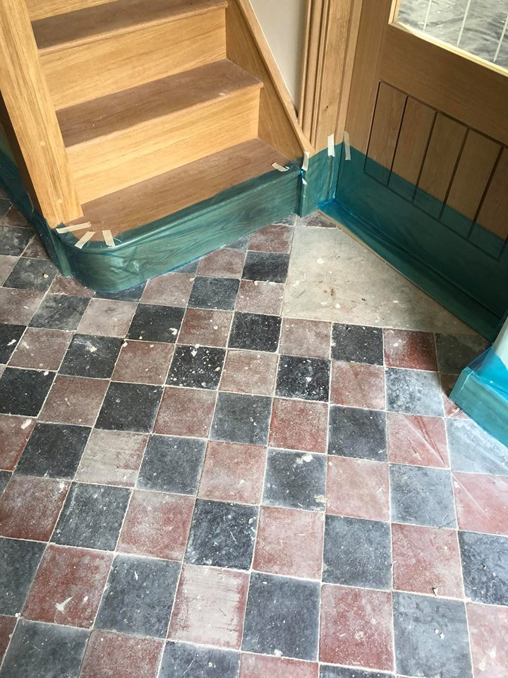 Victorian Tiled Hallway Before Cleaning and Repair Great Paxton